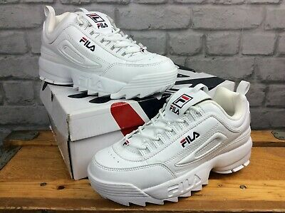 FILA UK 7 Eu 41 Disruptor Ii White Blue Red Trainers Rrp £85