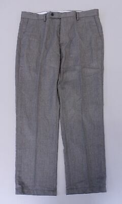 Arrow Men's Solid Flat-Front Slim Fit Tapered Trousers LP7 Dark Grey Size 34x26