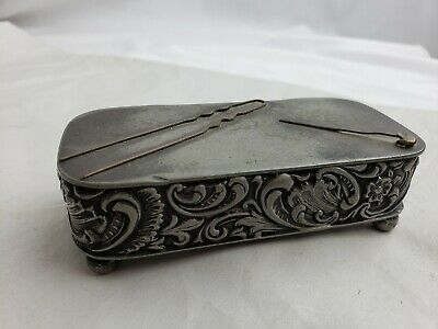 Antique Rogers Smith Silverplate Trinket Box Ornate High Relief 127 Meriden CT