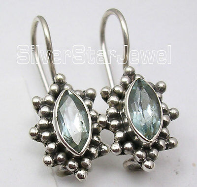 """925 Sterling Silver FACETED BLUE TOPAZ ANTIQUE LOOK FRENCH WIRE Earrings 0.9"""""""