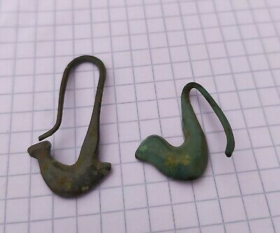 Two Scythian Earrings 7-5 Century BC. Ancient Jewelry, Animal style duck, Bronze