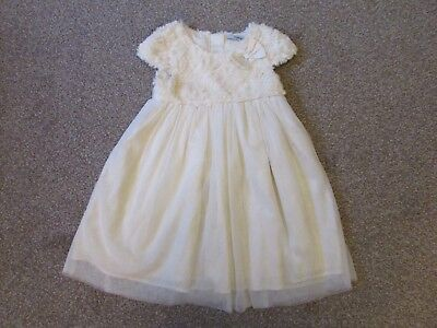Stunning George girls 4-5 years cream faux fur Wedding Christmas party dress VGC