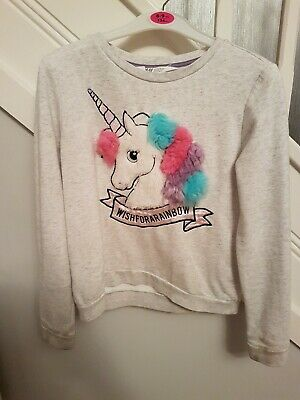 Girls Grey Unicorn Jumper Age 8-10 Years H&M