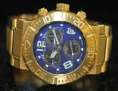 Invicta Reserve Ocean Reef Swiss Chrono Blue Dial Goldtone Steel Watch 6758