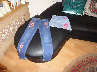 2 Gorgeous Denim Skirt and Trousers from Pink Tiger, Monsoon,Size 6-7,8yo