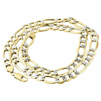 "3.50 g 3.5 mm 7 1//4/"" homme//dame 10k or Jaune Diamant Cut Figaro ID Bracelet"