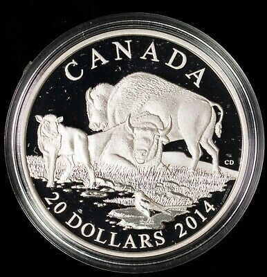 2014 Proof $20 The Bison #4-A Family at Rest Canada COIN/&COA ONLY .9999 silver t