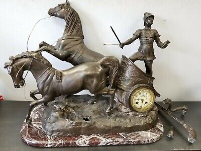 19th Century Roman Chariot Brass/Marble French Silk Suspension Mantle Clock