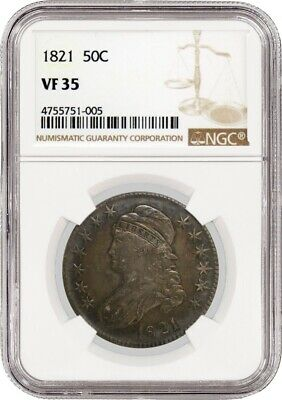 1821 50C Capped Bust Silver Half Dollar NGC VF35