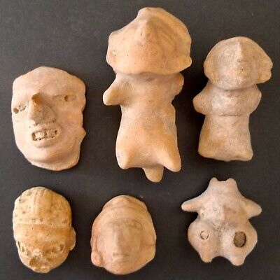 6 Pre-Columbian Clay Masks And Figures Of Mayan People Found In Mexico