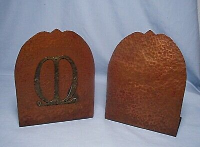 Antique Arts & Crafts Hammered Gilt Copper Bookends - Unsigned