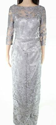 JS Collections Womens Gown Gray Size 8 Floral Lace Overlay Seamed $375 029