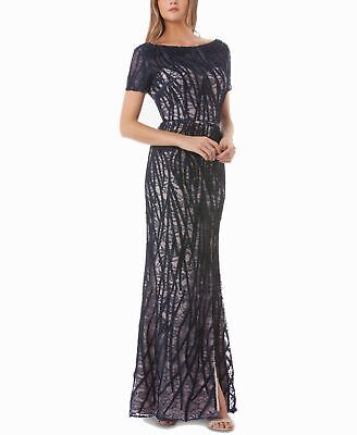 JS Collections Womens Gown Navy Blue Size 10 Lace Illusion Embroidered $368- 039