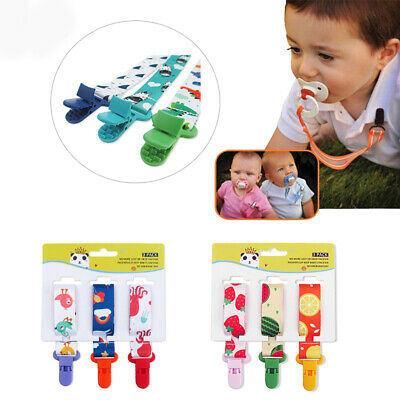 3Pcs Baby Anti-lost Pacifier Chain Clip Holder Dummy Soother Nipple Strap Chains