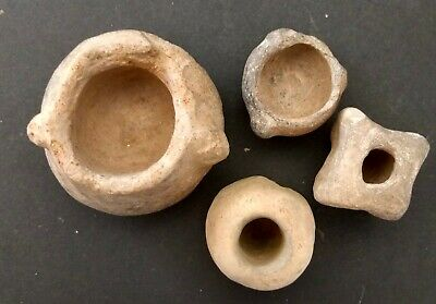 4 Pre-Columbian Clay Mayan Small Pots Or Vessels Found In Mexico