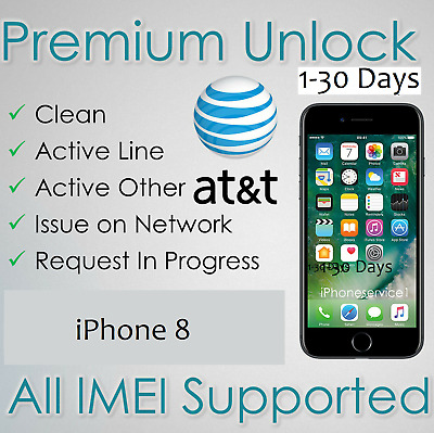 FACTORY UNLOCK SERVICE FOR AT&T IPHONE 11 XS XR X 8 8+ 7+ 7 6 All IMEI