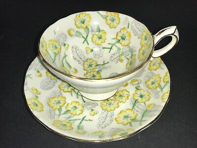 Bone China Cup & Saucer By Hammersley Yellow Flowers Grey Leaves Chintz