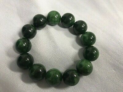 Lovely Pre-Owned Chinese Rich Green Jade Bead Bracelet On Elastic, 13 Beads.