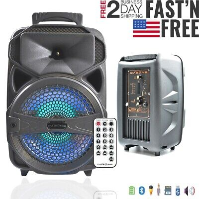"""8"""" Bluetooth Party BT Speaker Portable Stereo Travel Tailgate 1000W LED+ Remote"""