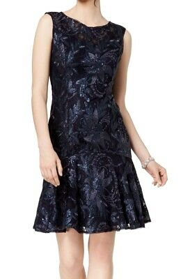 Adrianna Papell Womens Sheath Dress Navy Blue Size 14 Floral Lace $189 185