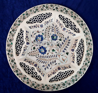 """18"""" Beautiful Marble Serving Plate Inlaid Floral Mosaic With Jalli Home Art Gift"""