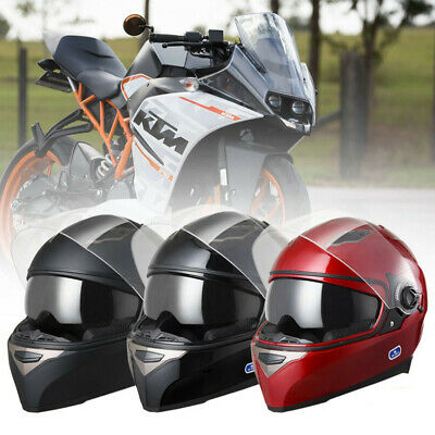 Motorcycle Full Face Helmet Dual Visor Motorbike Cycling Race DOT Safety M L XL