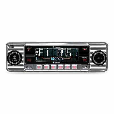 Autoradio USB Bluetooth Lettore CD Retro Radio AM FM Estraibile RDS Mp3 Argento