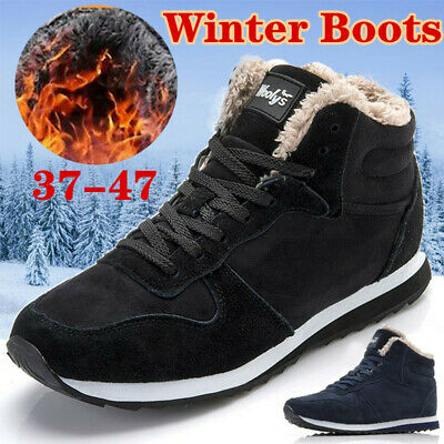 Mens Winter Snow Boots Ankle Casual Fur Lined Warm Hiking Outdoor Shoes Sneakers