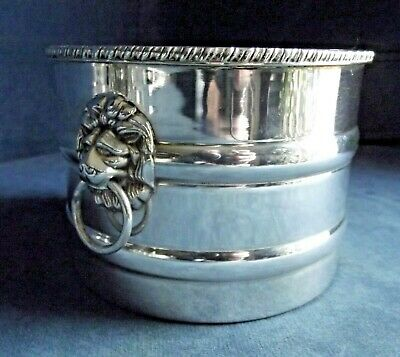 SUPERB ~ SILVER Plated ~ LIONS Head ~ ICE Holder BUCKET ~ c1960 by Emile Viner