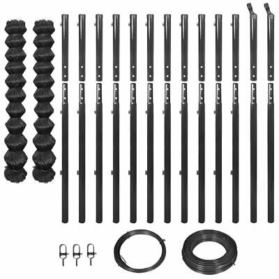 vidaXL Garden Chain-Link Fence Set Mesh with Posts and Hardware 1.97x25 m Grey