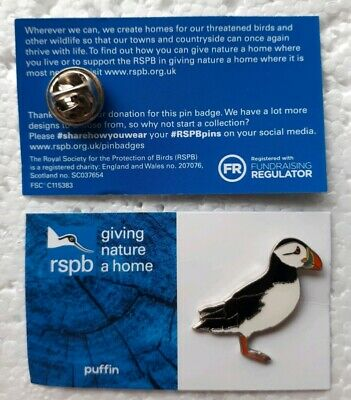 RSPB PUFFIN charity pin badge GNAH BRAND NEW DESIGN CARD