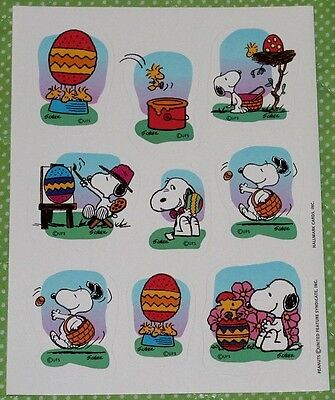 Vintage Hallmark Sticker EASTER SNOOPY PEANUTS 1 Sheet Scrapbooking SD5