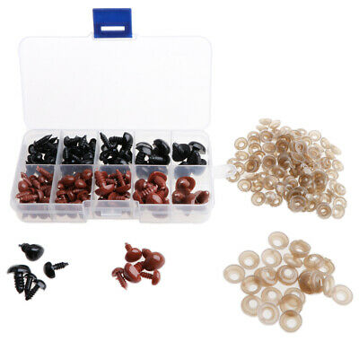 130 Pieces Safety Noses with Washers for Teddy Bear Dolls Puppet DIY Craft