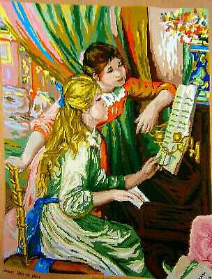 "Royal Paris A.Renoir ""Young Girls at the Piano"" Finished Needleart Wool Craft"