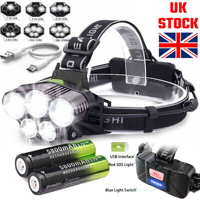 350000LM Headlamp Rechargeable Headlight 18650 Flashlight 5X T6 LED Head Torch √