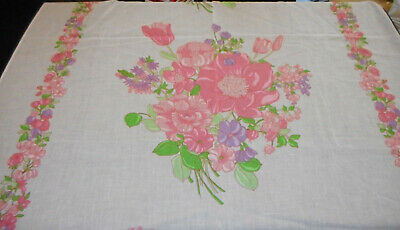 White with Pink Flowers Vintage Semi Sheer Fabric Beautiful 6 yards