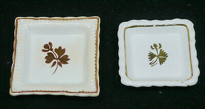 2 Old English Ironstone Tea Leaf Butter Pats, Burgess, Powell & Bishop