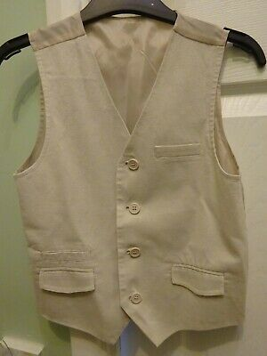 Boys M&S Cream Linen & Cotton Waistcoat, Age 8 Years