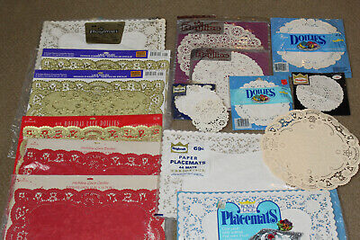 Large Lot Vintage Paper Doily Doilies Placemats Different Shapes Colors Roylies