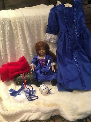 American Girl Doll Felicity Christmas Dress with matching girl's dress.