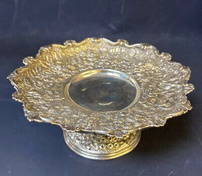 Antique Sterling Silver 925 Tiffany Repousse Flowers Floral Compote Tazza Dish