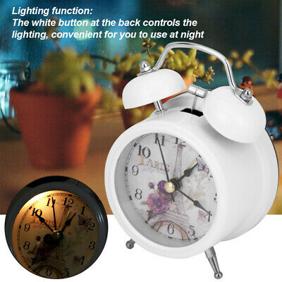 UK Stock Metal Case Retro Loud Double Bell Mechanical Key Wound Alarm Clock