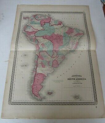 Original Old Antique - 1863 Johnson's - MAP OF SOUTH AMERICA