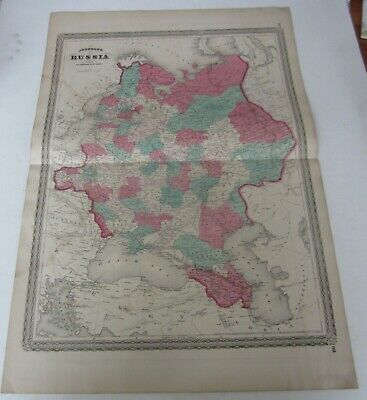 Original Old Antique - 1867 Johnson's MAP OF RUSSIA -  A.J. Johnson N.Y.