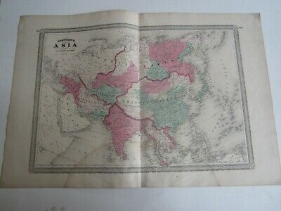 Original Old Antique - 1867 Johnson's MAP OF ASIA -  Russian / Chinese Empire