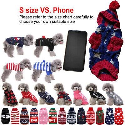Small Pet Dog Cat Christmas Puppy Chihuahua Jumper Knit Sweater Hoodie Clothes