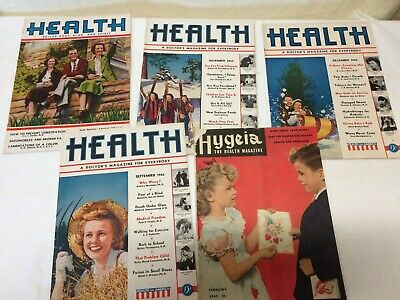 Lot of 5 Vintage Health & Hygeia Magazines 1930's 1940's AMA Doctor's MD publ