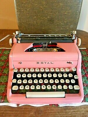 Vintage 1950's Pink Royal Quiet DeLuxe Portable Typewriter Beautiful Condition!