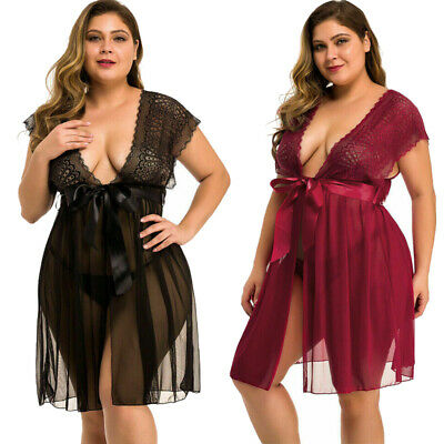 Plus Size Sexy Lingerie Lace Babydoll Women Sleepwear Floral Nightwear Robe Set