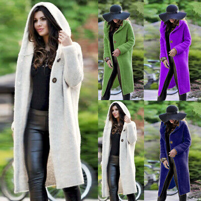 Women's Hooded Cardigan Casual Knitted Sweater Long Coat Outwear Jacket Jumper